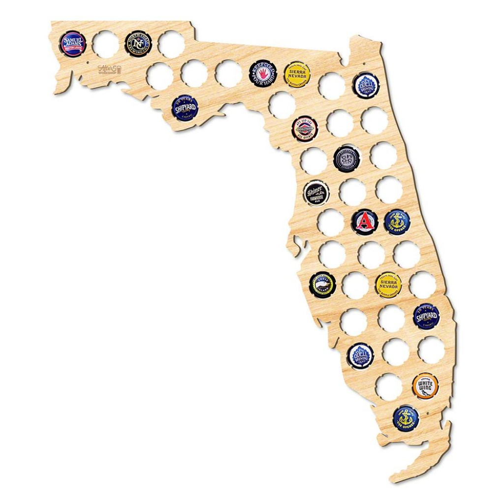 After 5 Workshop 19 In. X 17 In. Large Florida Beer Cap Map 4726 - Florida Beer Cap Map