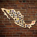 After 5 Workshop 24 In. X 15 In. Large Mexico Beer Cap Map 4860   Florida Beer Cap Map