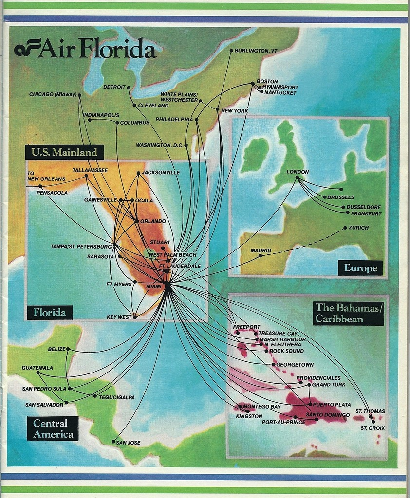 Air Florida Route Map, December 1983 | Air Florida Route Map… | Flickr - Florida Destinations Map