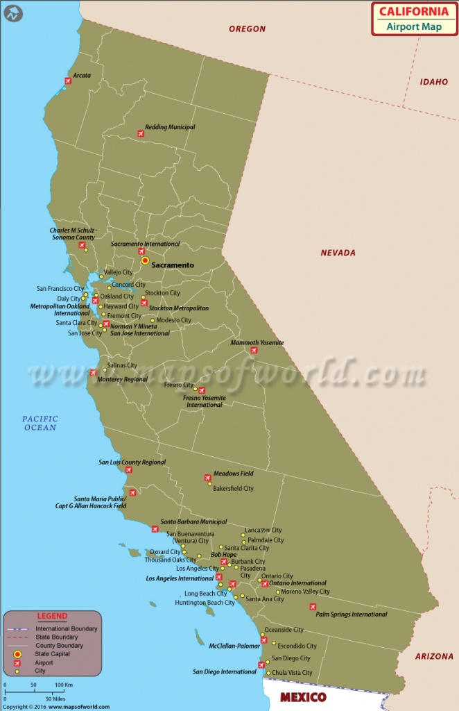 Airports In California | List Of Airports In California - Northern California Casinos Map