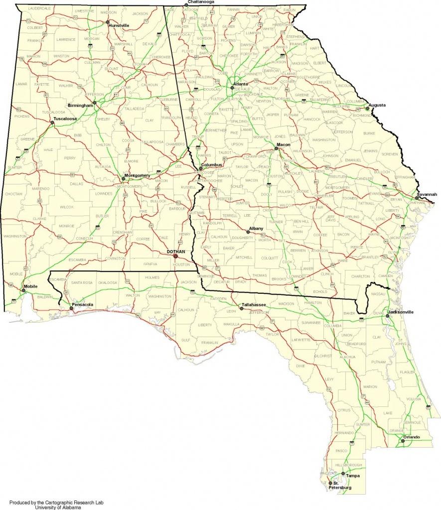 Alabama-Georgia-Florida Map - Map Of Alabama And Florida