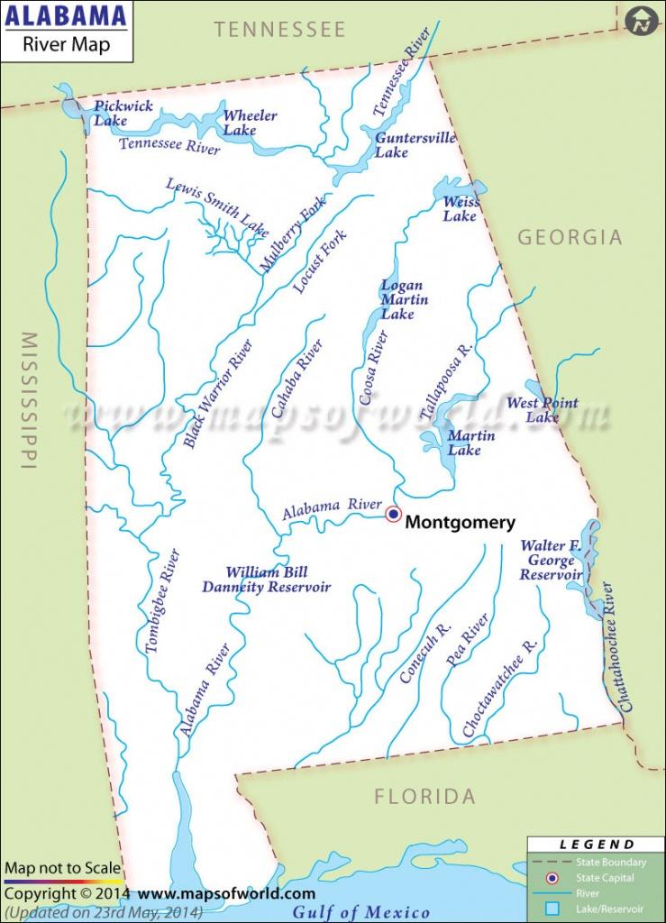 Alabama Rivers Map   Rivers In Alabama - Us Map Of Alabama And Florida