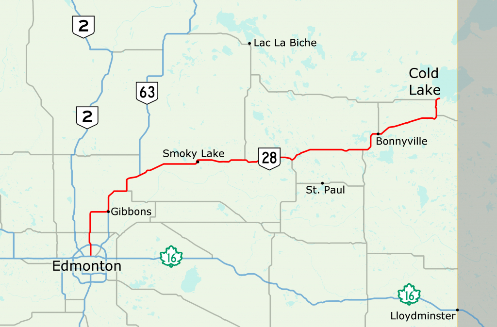 Alberta Highway 28 - Wikipedia - Printable Alberta Road Map