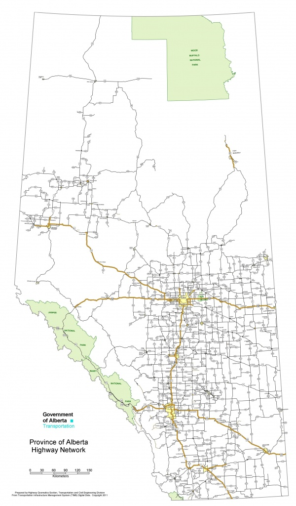 Alberta Highway Map - Printable Alberta Road Map