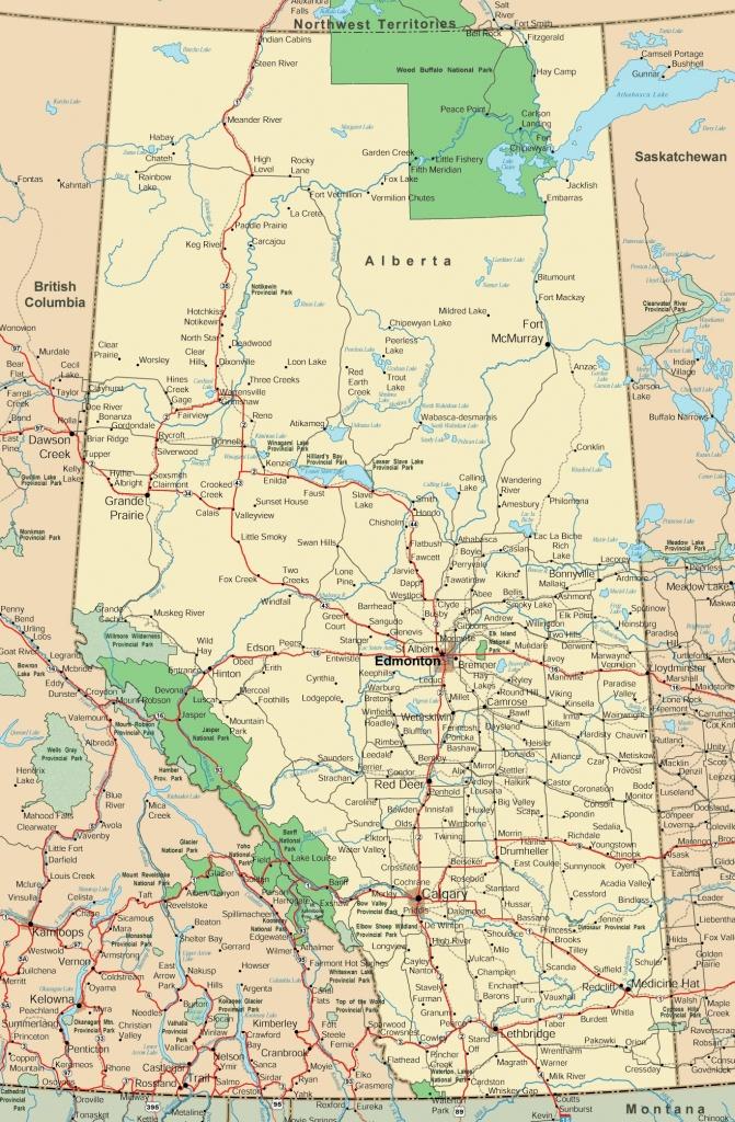 Alberta Road Map - Free Printable Map Of Alberta