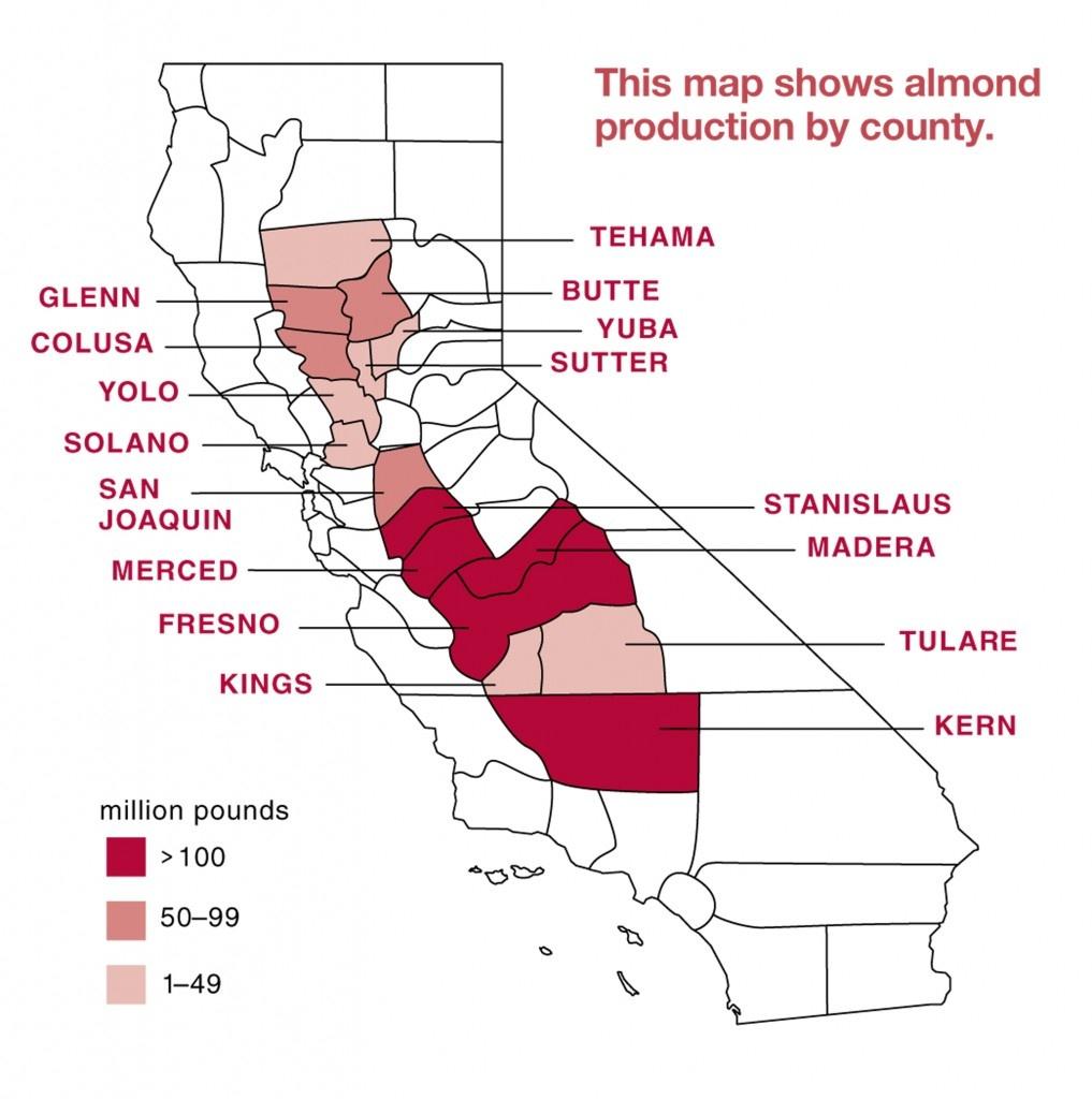 Almond Board Of California - Almond Map - - California Almond Production Map