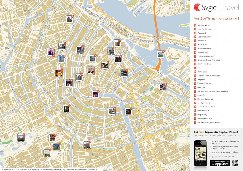 Amsterdam Printable Tourist Map | Sygic Travel - Amsterdam Street Map Printable