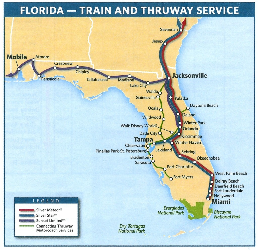 Amtrak System Map - Amtrak Florida Route Map
