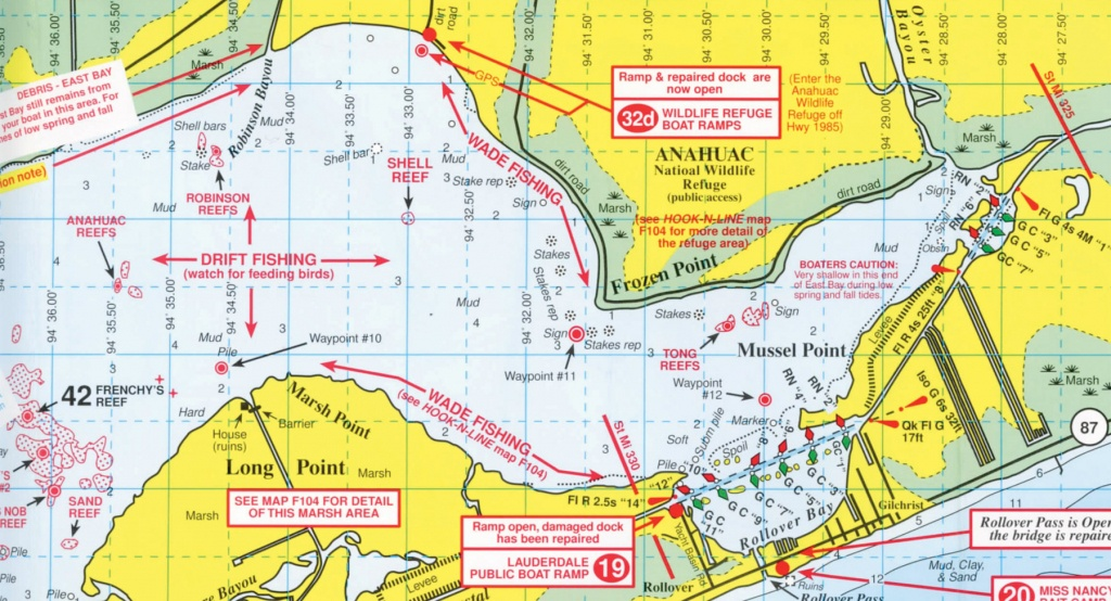Anahuac National Wildlife Refuge - Texas Saltwater Fishing Maps