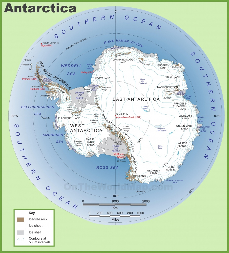 Antarctica Maps | Maps Of Antarctica - Ontheworldmap - Printable Map Of Antarctica