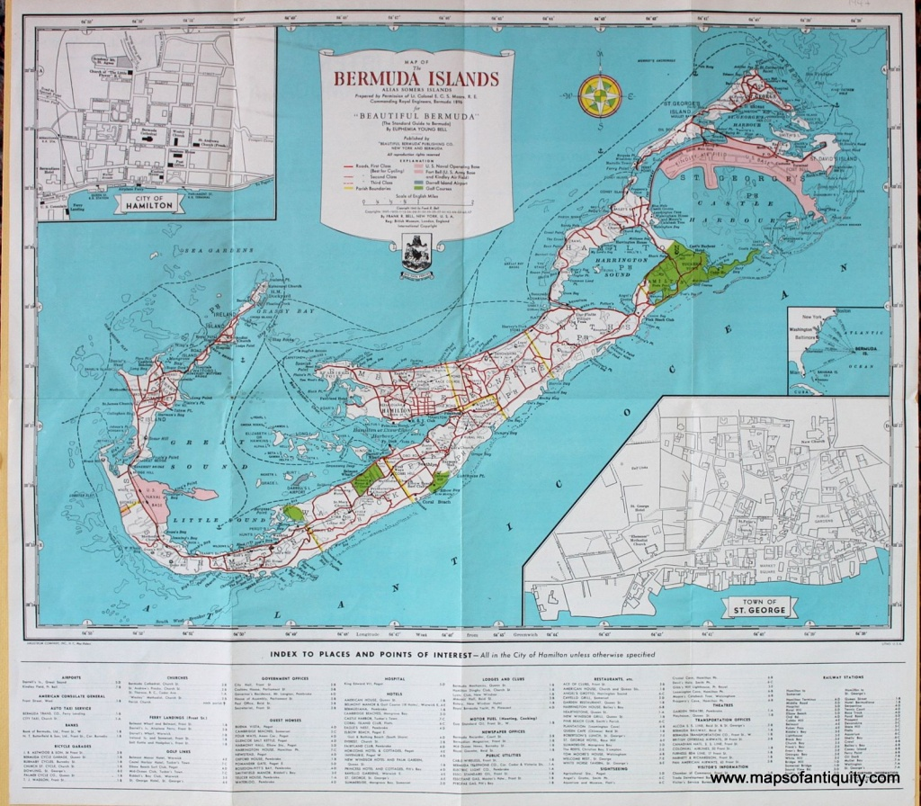 Antique (1947) Map Of The Bermuda Islands. | Maps Of The Caribbean - Printable Map Of Bermuda