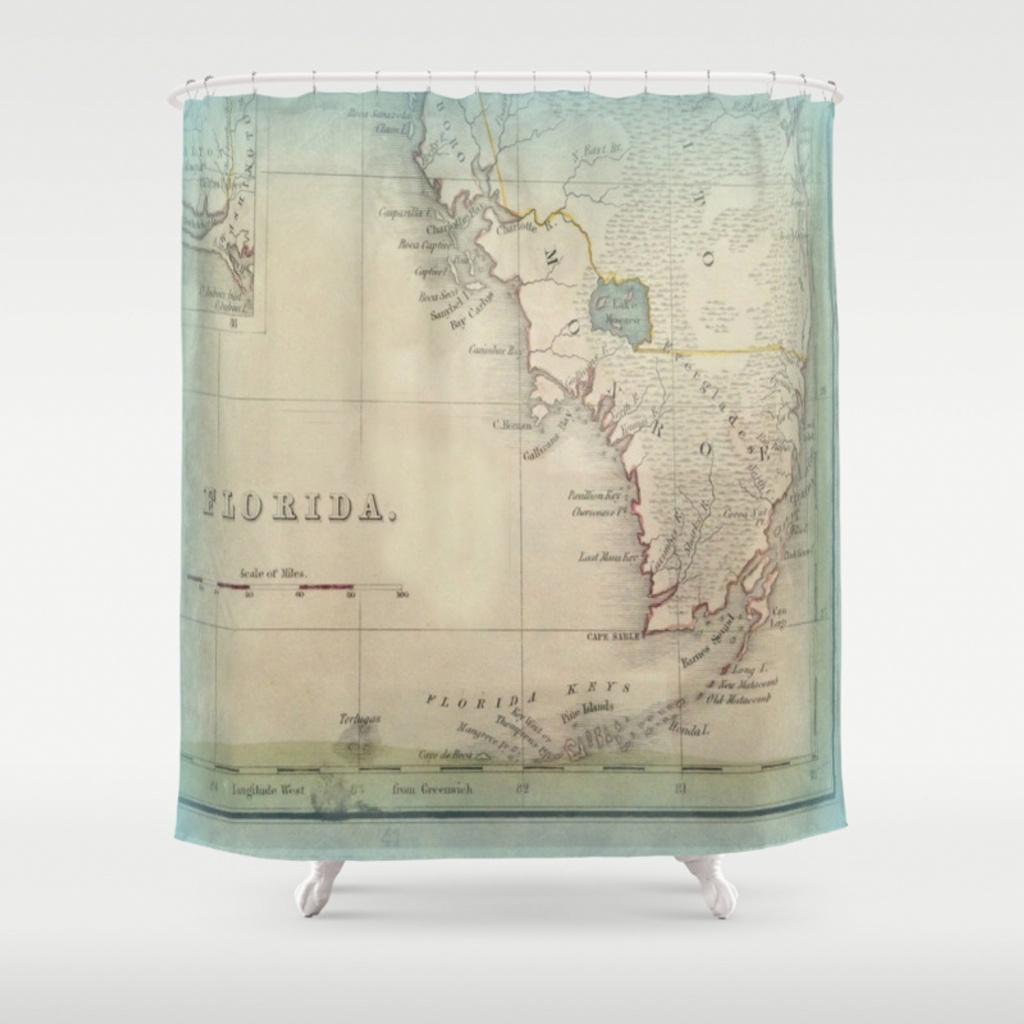 Antique Florida Keys Map Shower Curtainkarengrossman | Society6 - Florida Map Shower Curtain