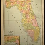 Antique Florida Map Of Florida Wall Decor Art Original Gift Idea   Florida Map Wall Art