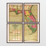 Antique Map   Archival Reproduction   Florida Art   Florida Wall Art   Florida Map Wall Art