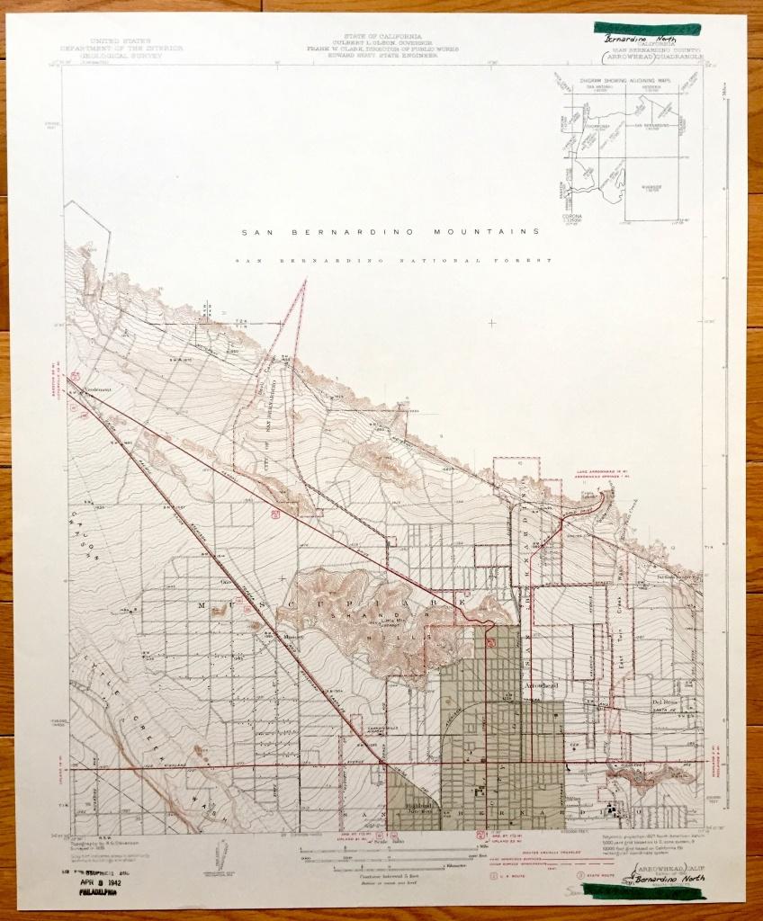 Antique San Bernardino And Arrowhead California 1941 Us | Etsy - Ono California Map