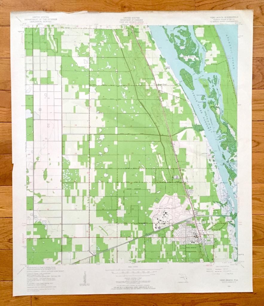 Antique Vero Beach Florida 1949 Us Geological Survey | Etsy - Map Of Vero Beach Florida Area