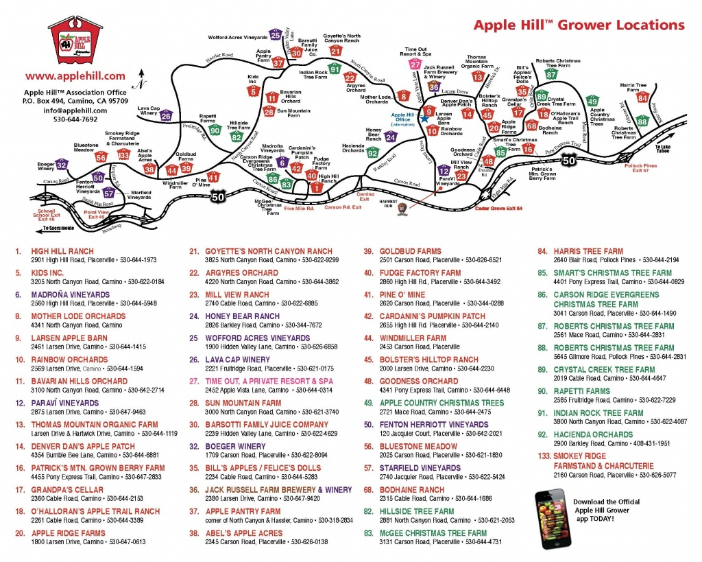 Apple Hill Lodgingnorth Canyon Inn - Apple Hill Printable Map