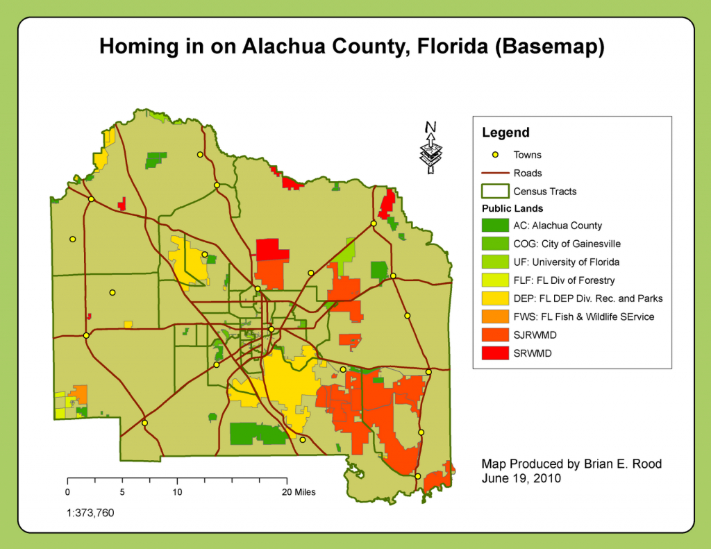 Applications In Gis - Rood: Week 6: Homing In On Alachua County, Fl - Florida Census Tract Map