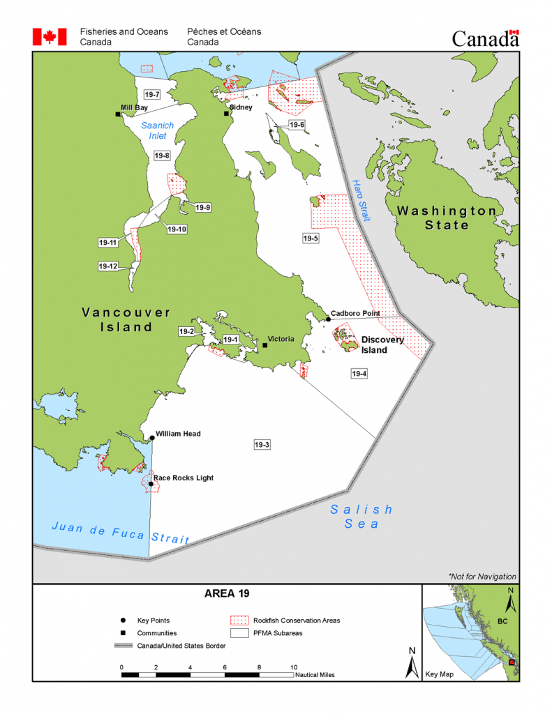 Area 19 (Victoria, Sidney) - Bc Tidal Waters Sport Fishing Guide - California Fishing Regulations Map