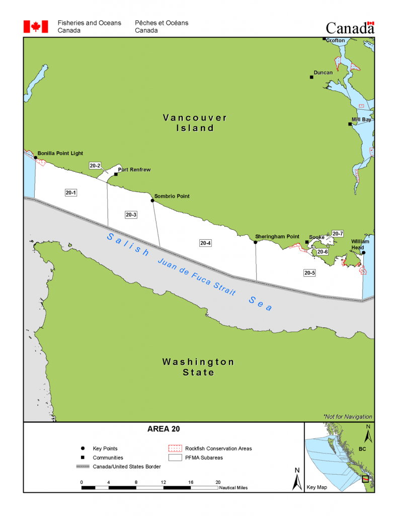Area 20 (Sooke, Port Renfrew) - Bc Tidal Waters Sport Fishing Guide - California Fishing Regulations Map