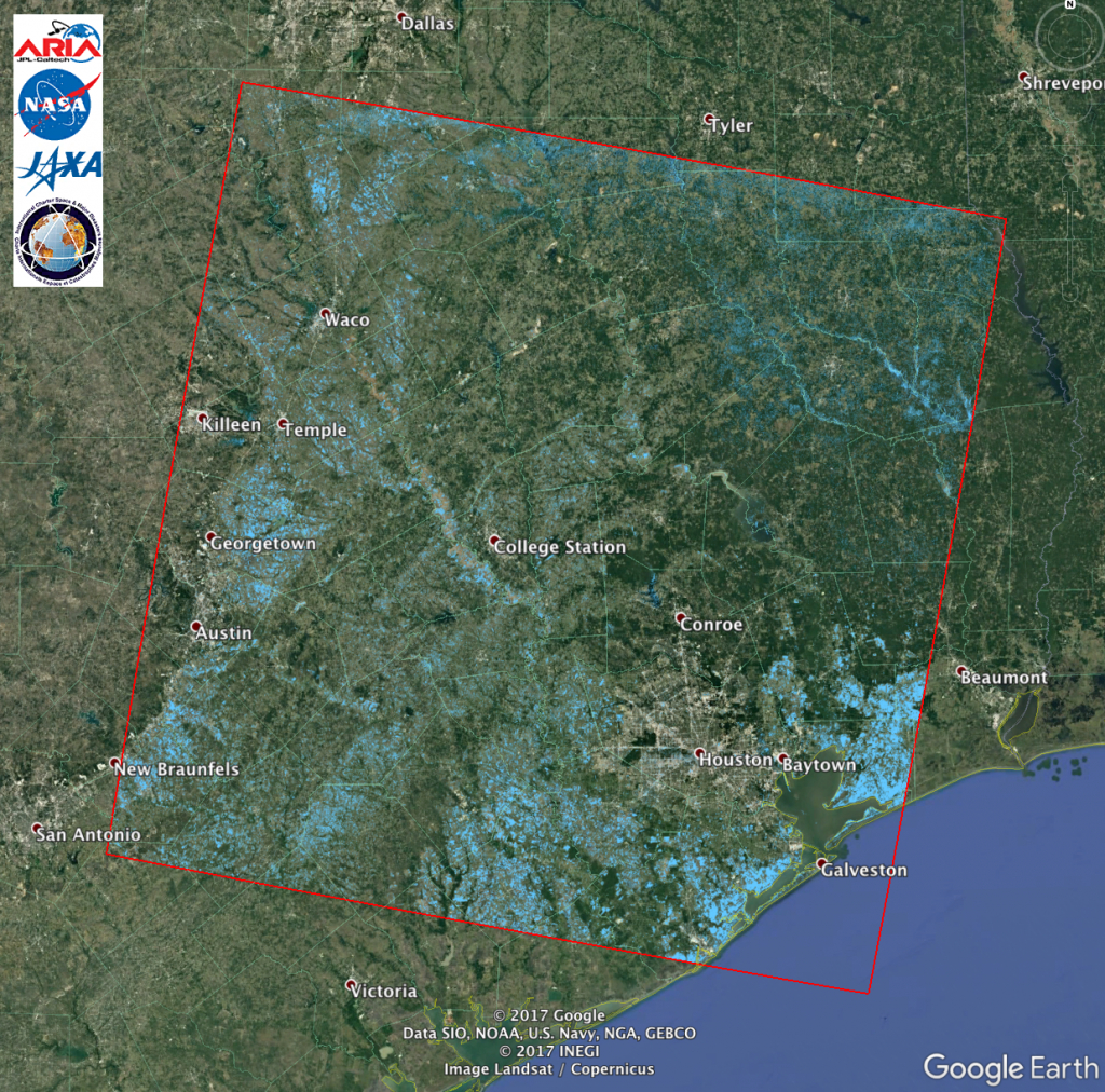 Aria Alos-2 Flood Proxy Map Of Texas Flooding From Harvey   Nasa - Map Of Flooded Areas In Texas