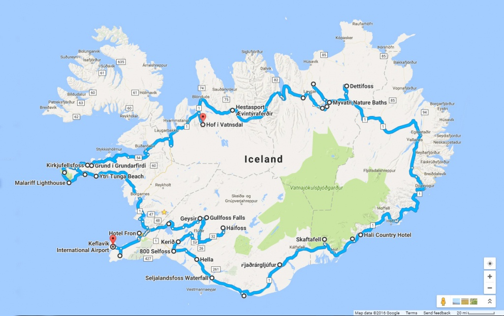 Around The Road In 8 Days - Iceland Ring Road Itinerary | Annual - Printable Driving Map Of Iceland