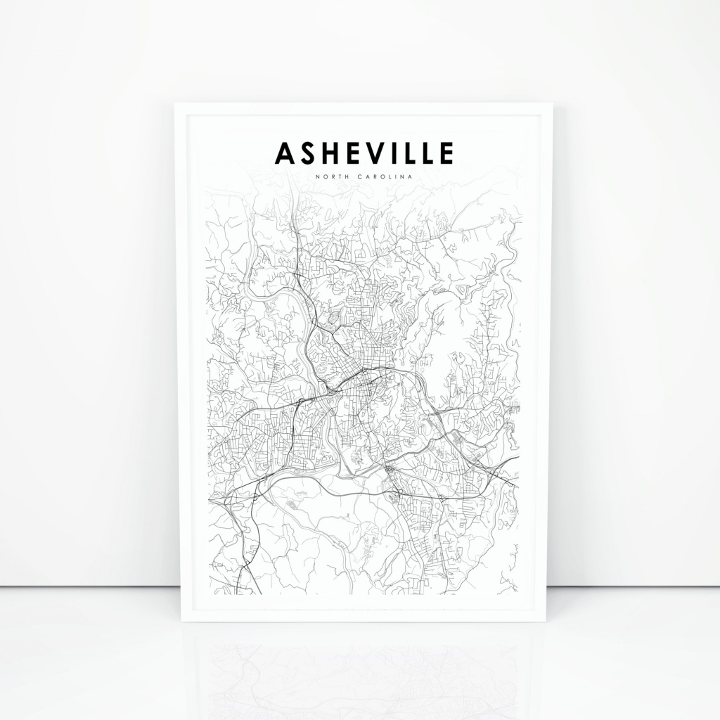 Asheville Map Print North Carolina Nc Usa Map Art Poster   Etsy - Printable Map Of Asheville Nc