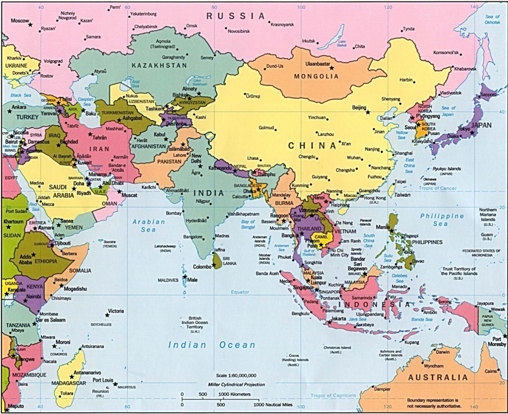 Asia Maps With Countries And Capitals Simple Printable Map Pikku Of - Printable Map Of Asia