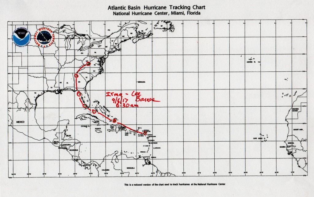 Atlantic Basin Hurricane Tracking Map - Tularosa Basin 2017 - Printable Hurricane Tracking Map