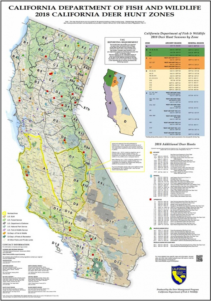 Attn California Hunters: Phase 2 Of Non-Lead Ammunition Requirements - California Deer Zone Map 2018