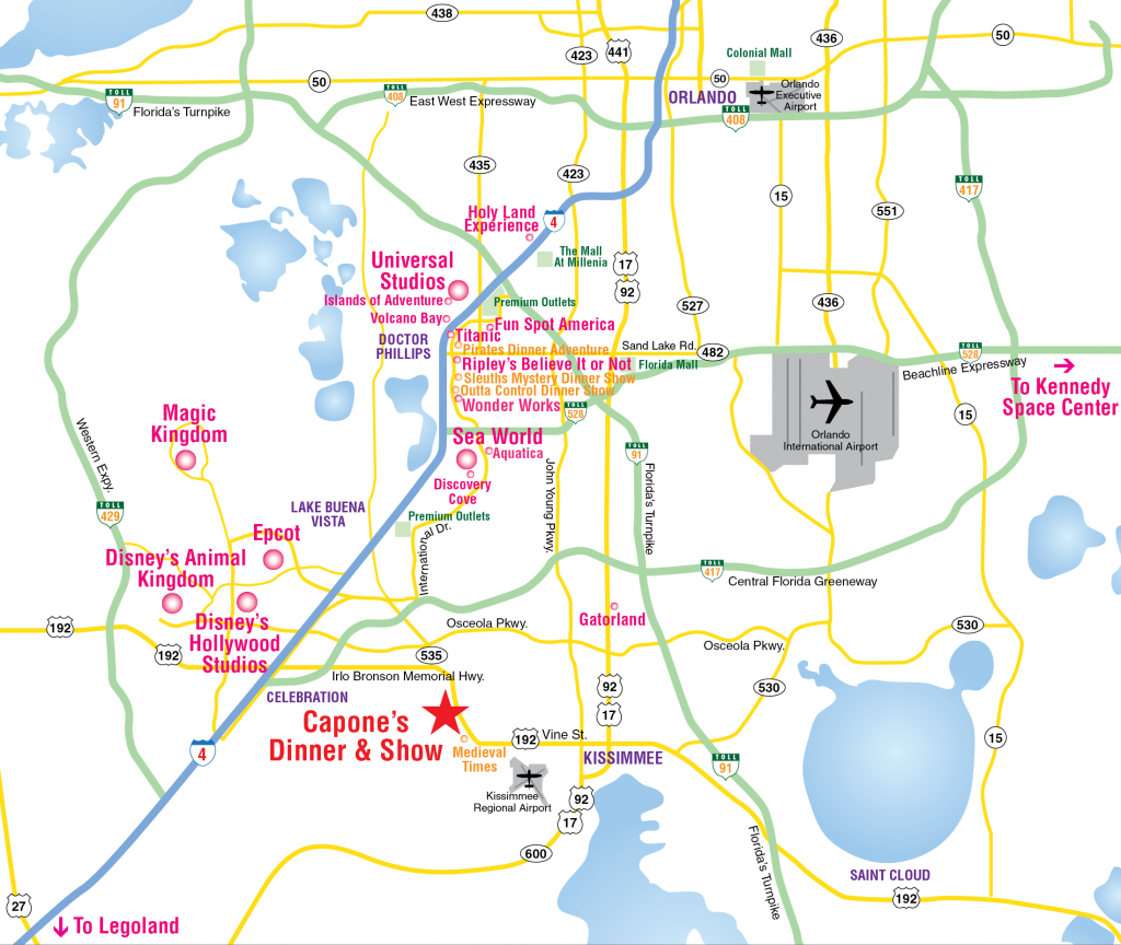 Attractions Map : Orlando Area Theme Park Map : Alcapones - Map Of Florida Near Orlando