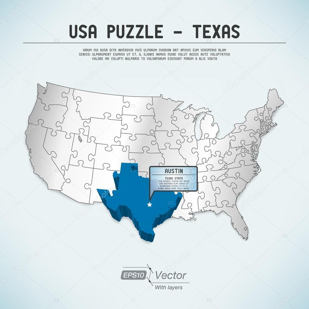 Au Usa Carte Puzzle - Une Seule Pièce D'état-Un Puzzle - Texas - Texas Map Puzzle