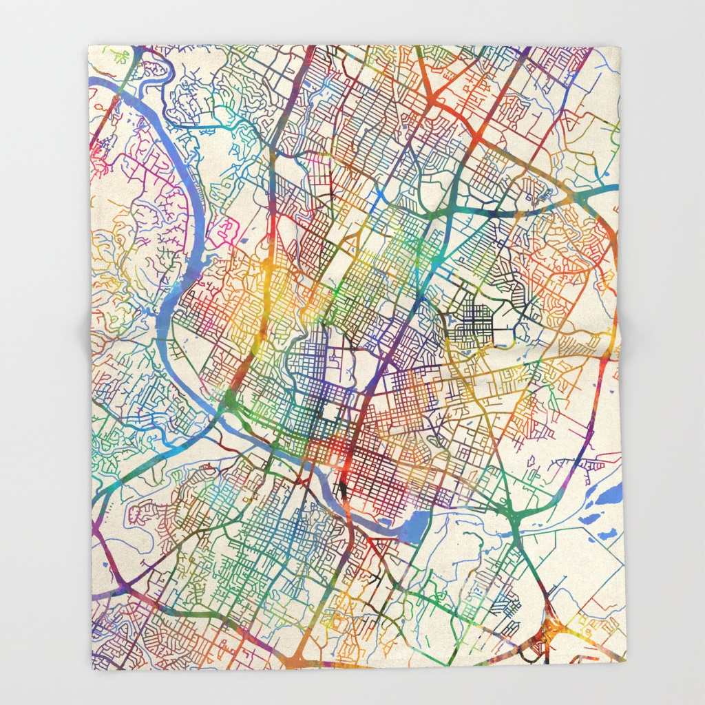 Austin Texas City Map Throw Blanketartpause | Society6 - Austin Texas City Map