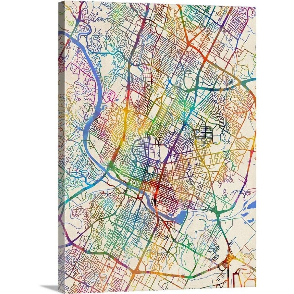 """austin Texas City Map""michael Tompsett Canvas Wall Art - Street Map Of Austin Texas"