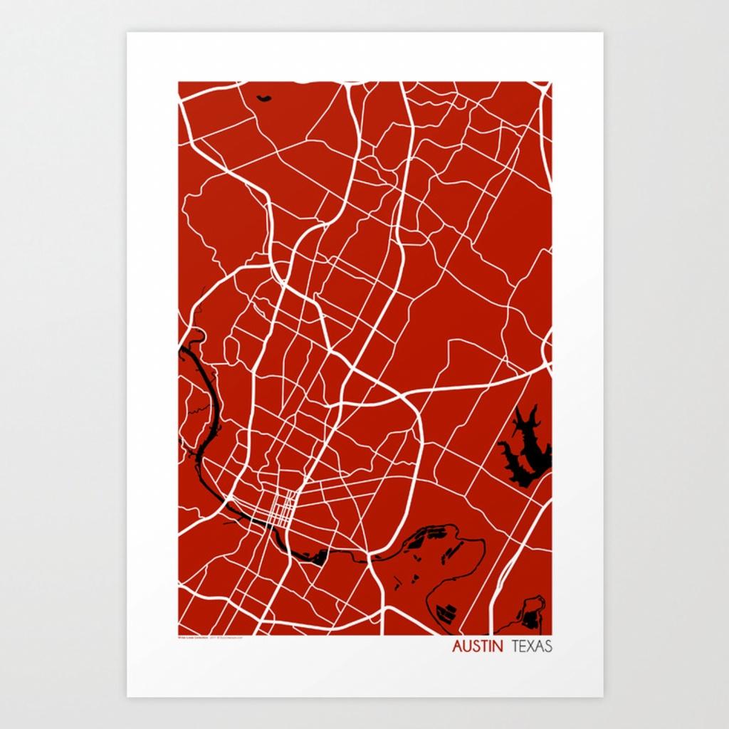 Austin Texas Map Art Printstudiotesouro | Society6 - Texas Map Art