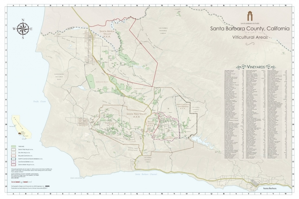 Ava Maps - Santa Barbara Vintners - California Ava Map