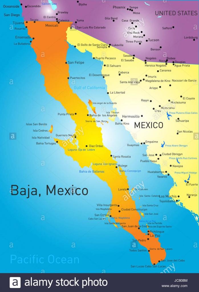 Baja California Sur Map Stock Photos & Baja California Sur Map Stock - Baja California Norte Map