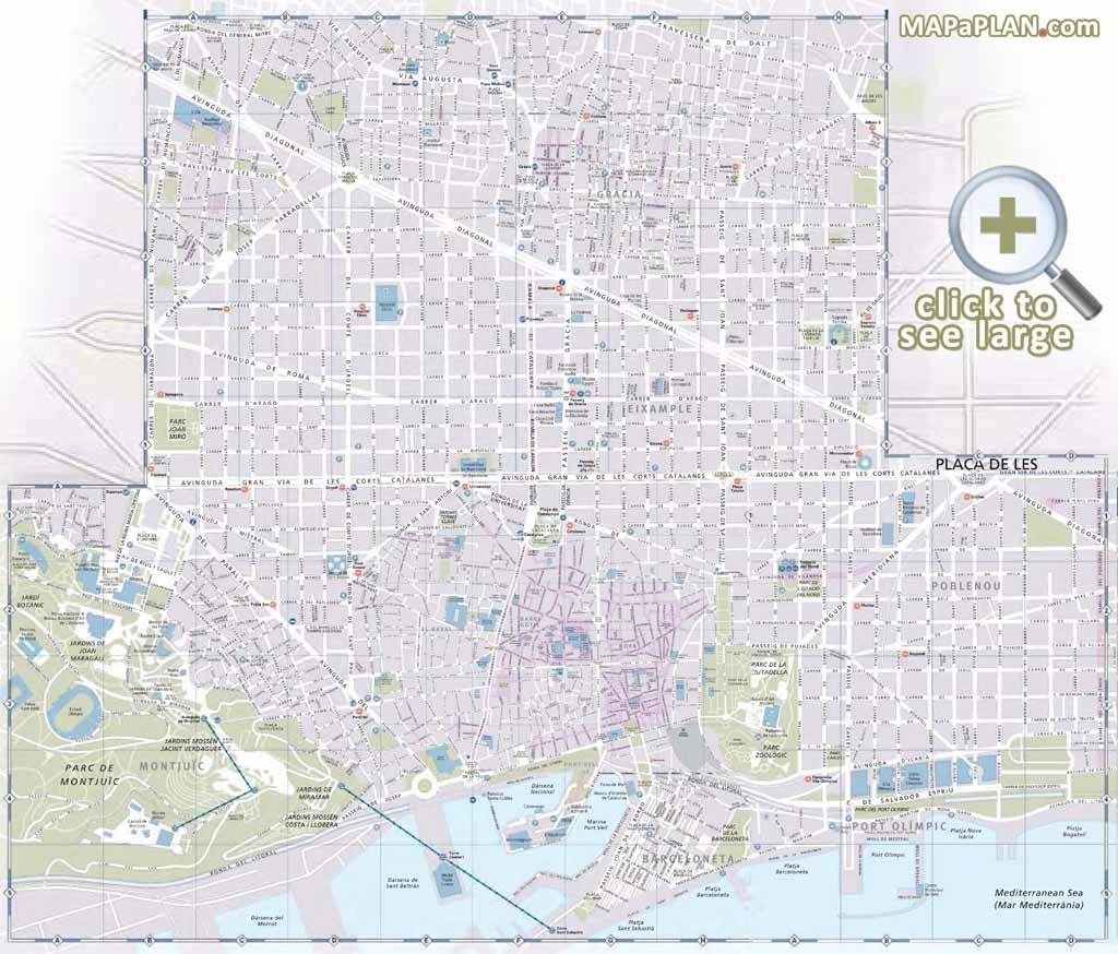 Barcelona Maps - Top Tourist Attractions - Free, Printable City - Barcelona Street Map Printable