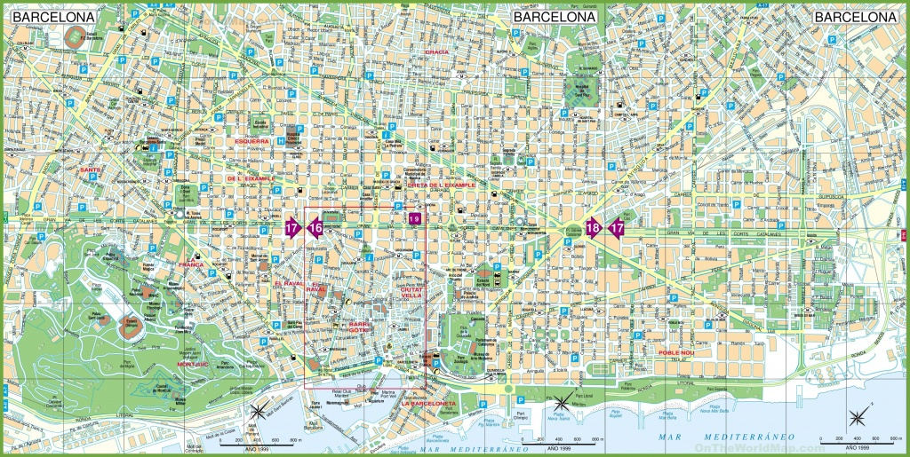 Barcelona Street Map And Travel Information   Download Free - Printable Street Maps Free