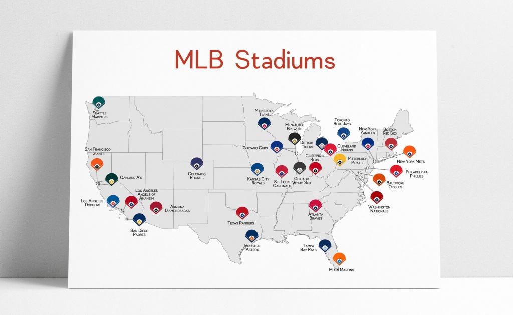 Baseball Map Baseball Stadiums Map Mlb Stadium Print   Etsy - Printable Map Of Mlb Stadiums