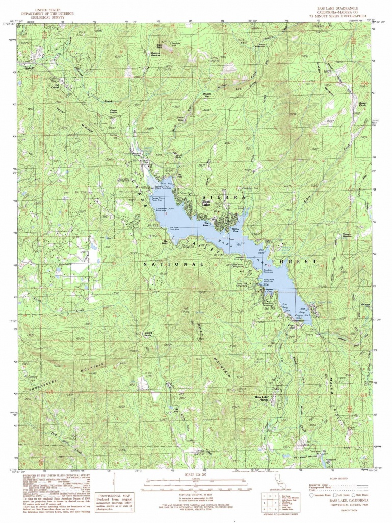 Bass Lake Topographic Map, Ca - Usgs Topo Quad 37119C5 - Bass Lake California Map