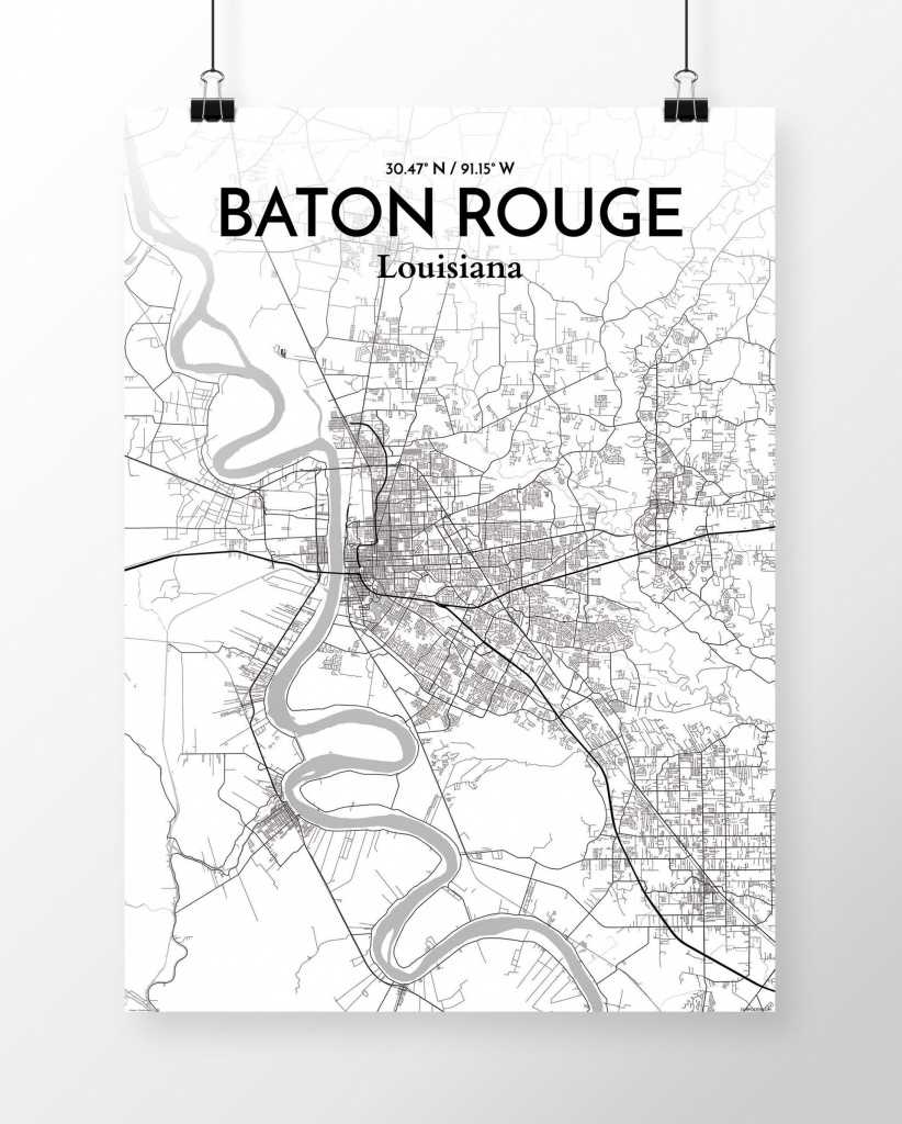 'baton Rouge City Map' Graphic Art Print Poster In White - Printable Map Of Baton Rouge