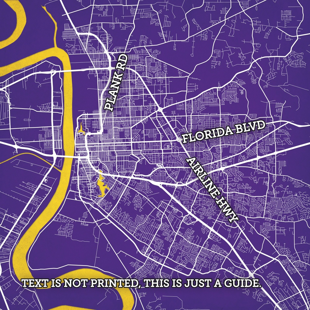 Baton Rouge, Louisiana Map Art - Printable Map Of Baton Rouge