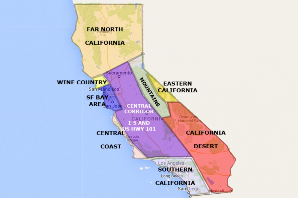 Best California Statearea And Regions Map - Map Of California Near San Francisco
