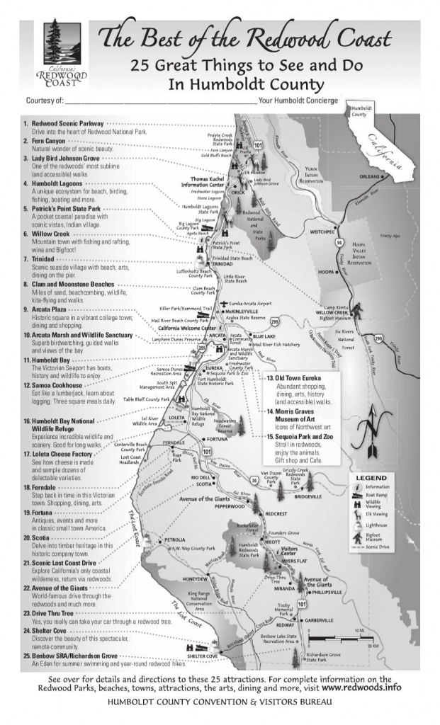 Best Of The Redwood Coast Map In 2019   Wanderlust   Northern - Camping Northern California Coast Map