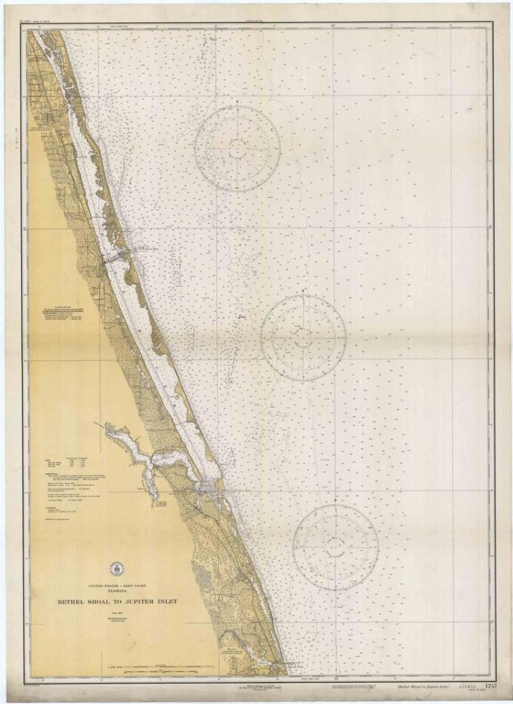 Bethel Shoal To Jupiter Inlet 1934 Nautical Map Florida 80000 | Etsy - Map Of Florida Showing Hobe Sound