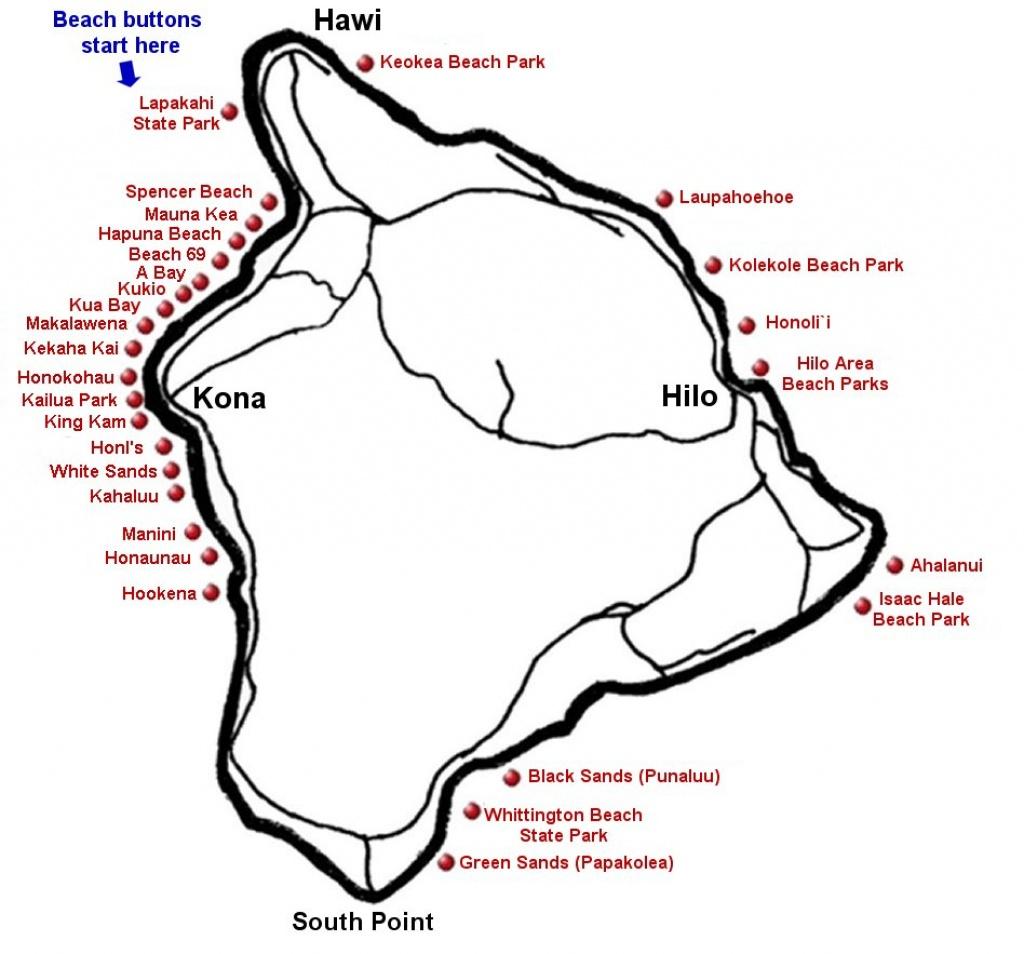"""Big Island Beaches & The Big Island <Br> <Meta Name=""""keywords - Big Island Map Printable"""