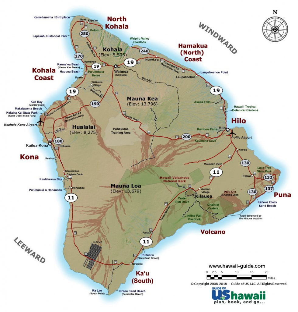 Big Island Of Hawaii Maps - Map Of The Big Island Hawaii Printable