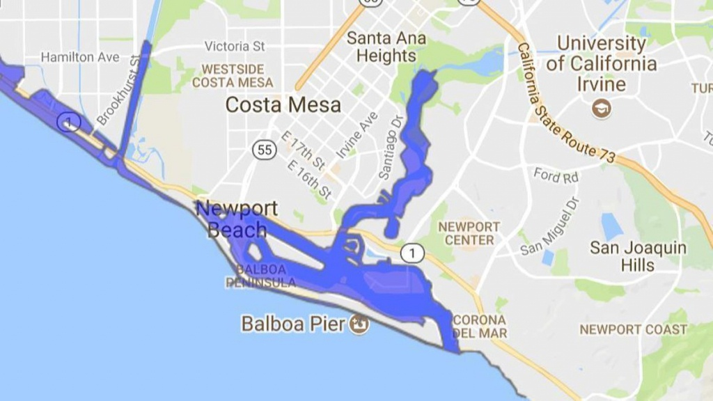 Big Tsunami Could Flood Large Swaths Of Newport Beach, So The City - Where Is Del Mar California On The Map