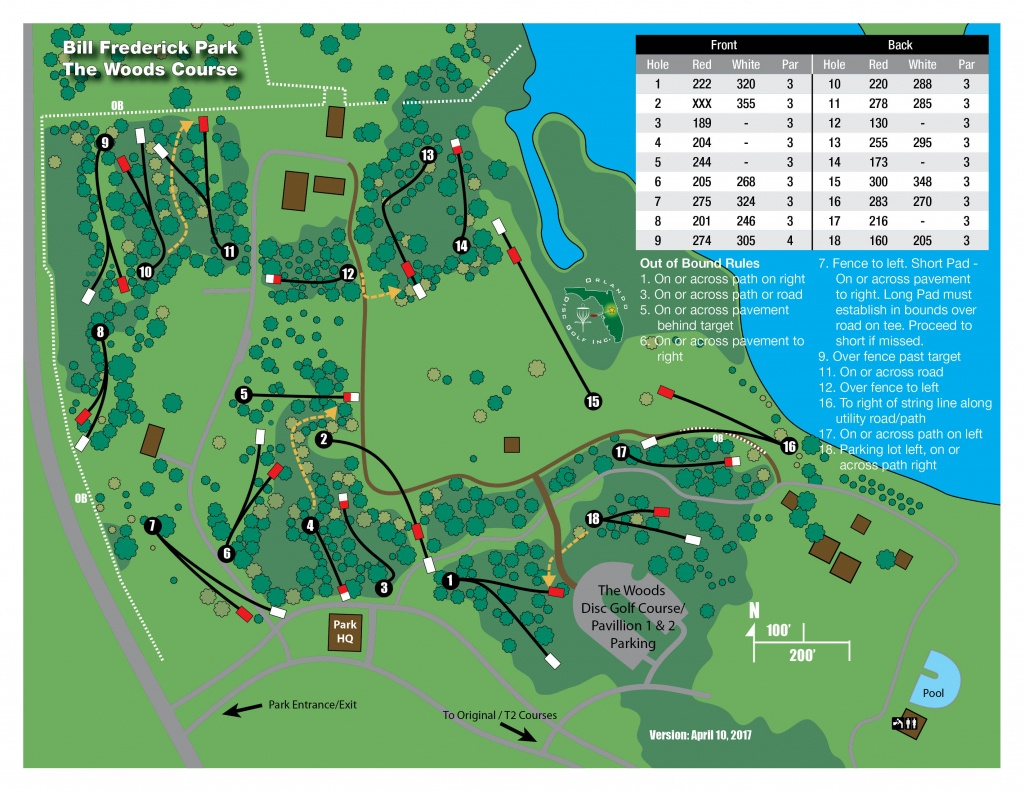 Bill Frederick Park At Turkey Lake: The Woods | Professional Disc - Map Of Central Florida Golf Courses